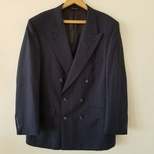 Burberry Navy Pin Stripe 2 Button Wool Sport Coat